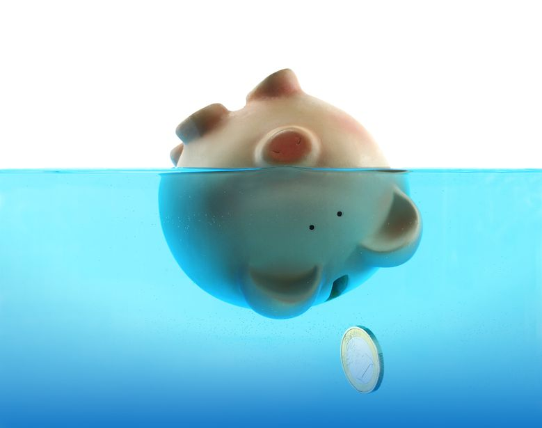 Geld Pleite Verlust Euro 123rf