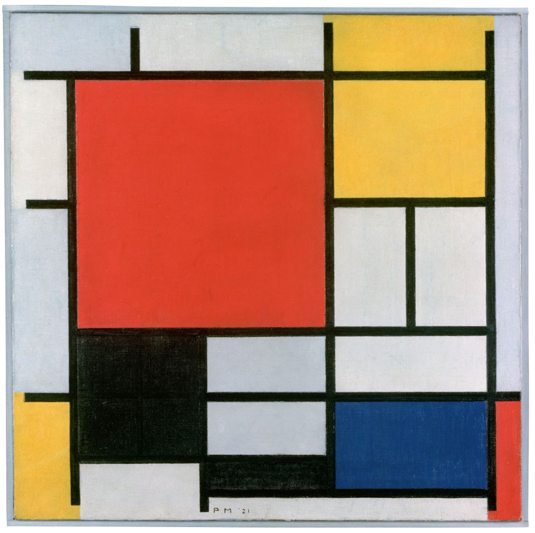 Piet Mondriaan Composition with large red plane black greay and blue 1921
